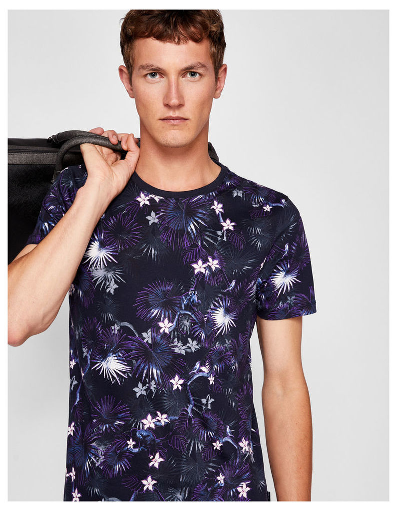 Ted Baker Monkey and floral print cotton T-shirt Navy