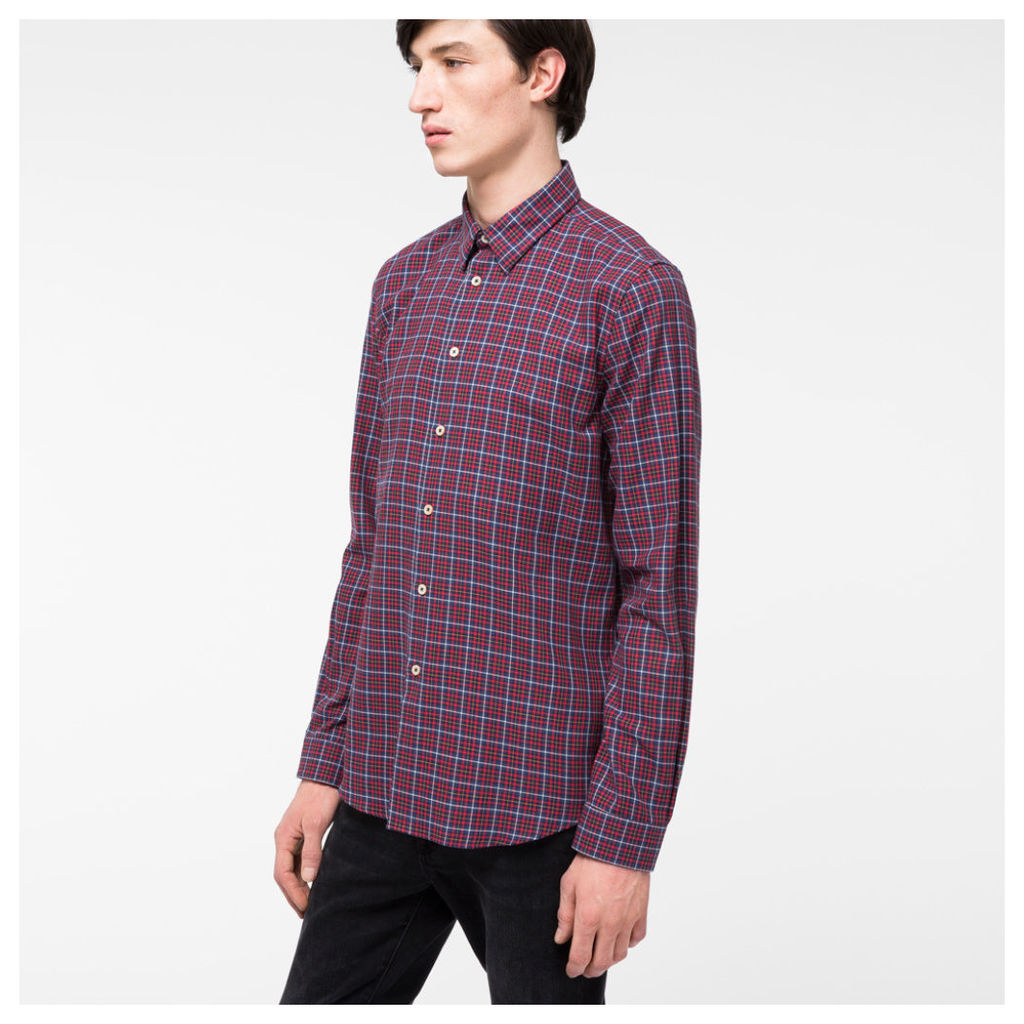 Men's Tailored-Fit Red And Navy Check Brushed-Cotton Shirt
