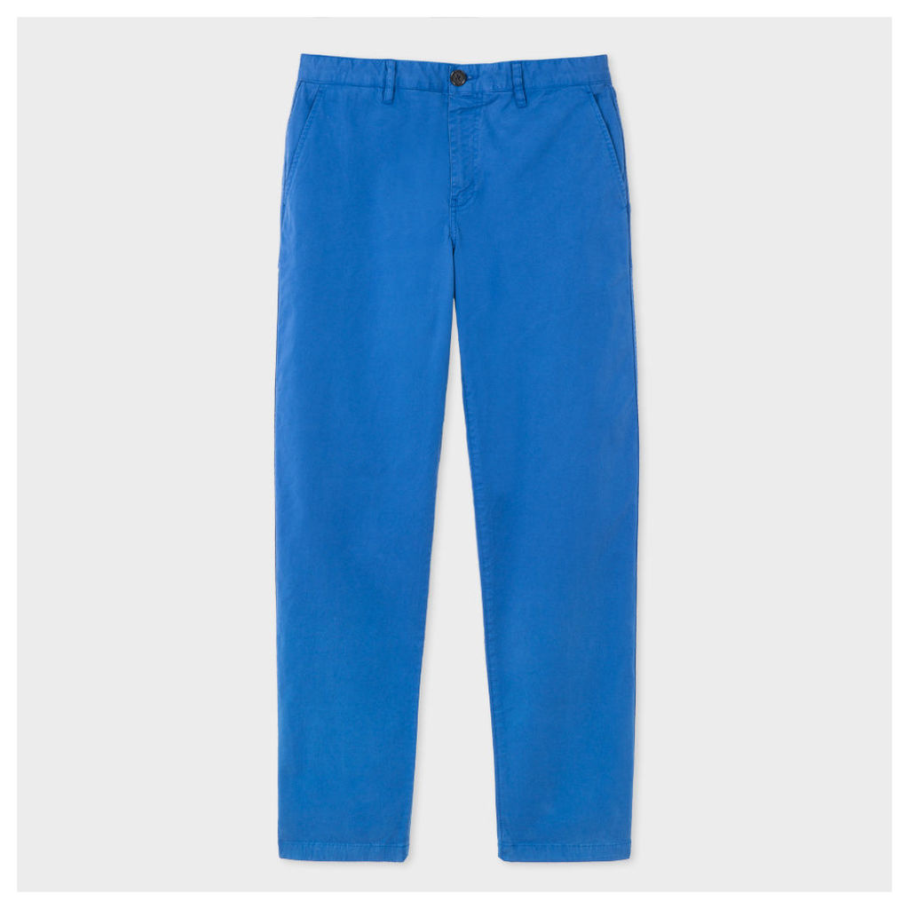 Men's Tapered-Fit Washed Blue Garment-Dyed Pima-Cotton Stretch Chinos