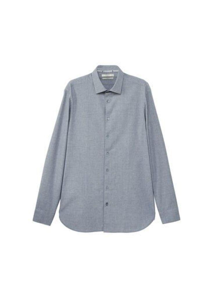 Slim-fit structured cotton shirt