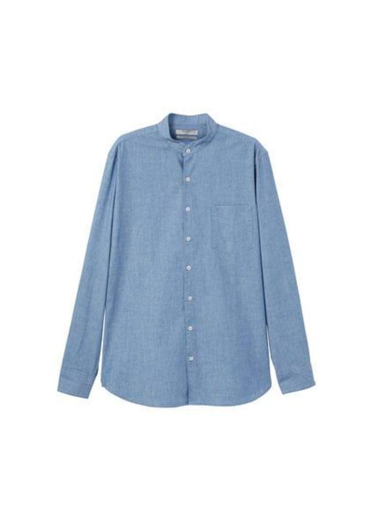 Slim-fit light denim shirt