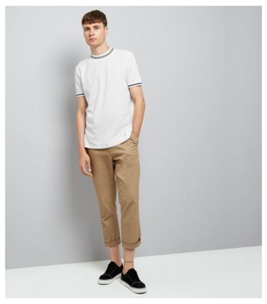 White Contrast Neck Trim T-Shirt New Look