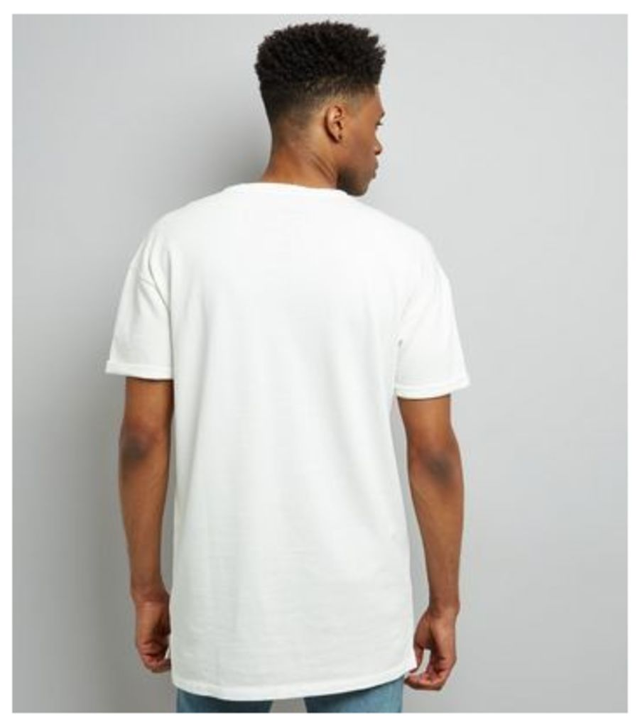 White Short Sleeve Pocket Front Longline Sweater New Look