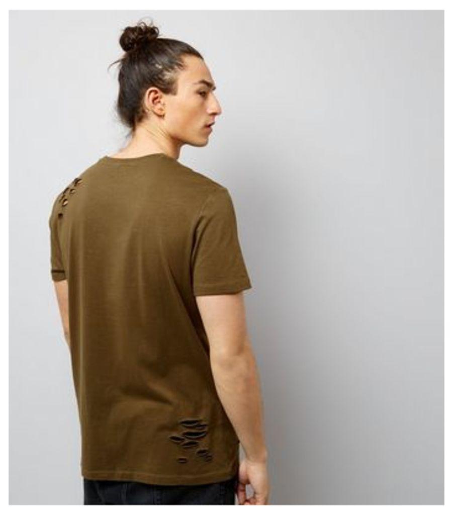 Khaki Ripped Future Of The World Print T-Shirt New Look