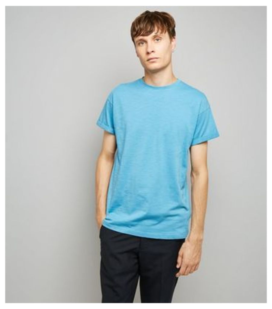 Bright Blue Rolled Sleeve T-Shirt New Look