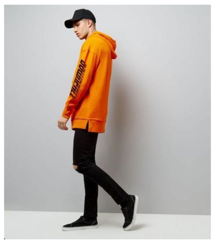 Orange Downfall Slogan Longline Hoodie New Look