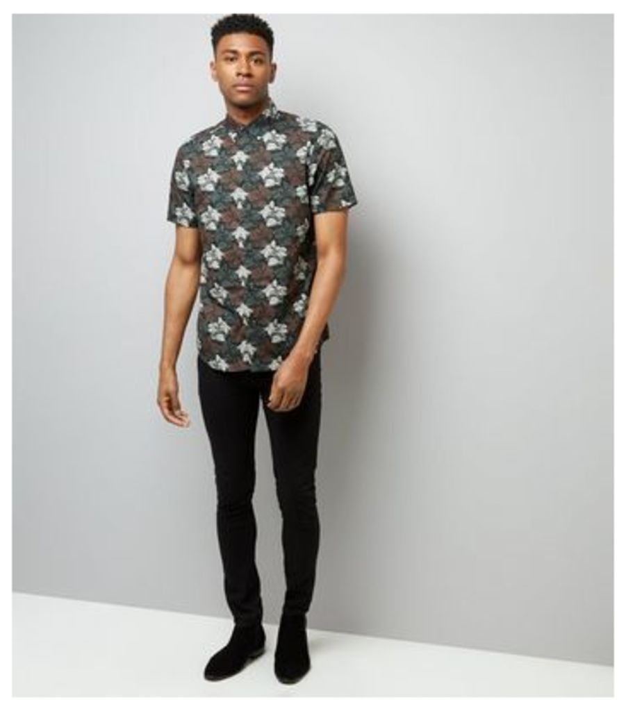 Burgundy Floral Short Sleeve Shirt New Look