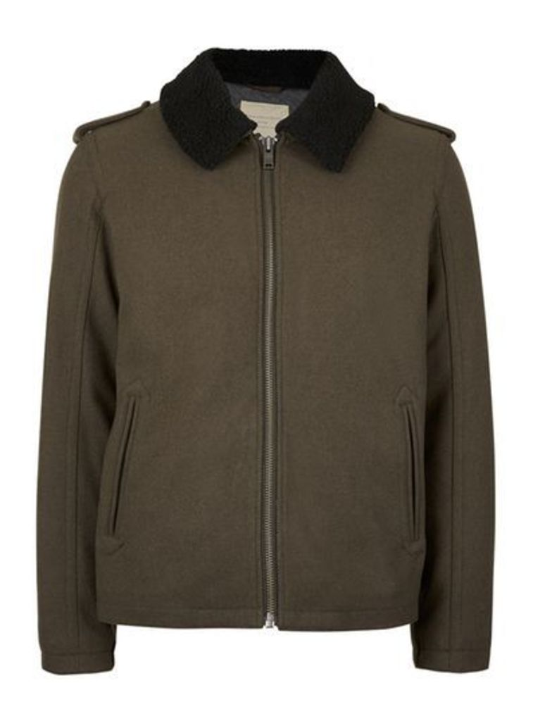 Mens SELECTED HOMME Green Faux Shearling Collar Jacket, Green