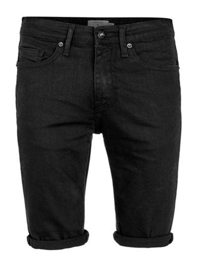 Mens Black Spray On Denim Shorts, Black
