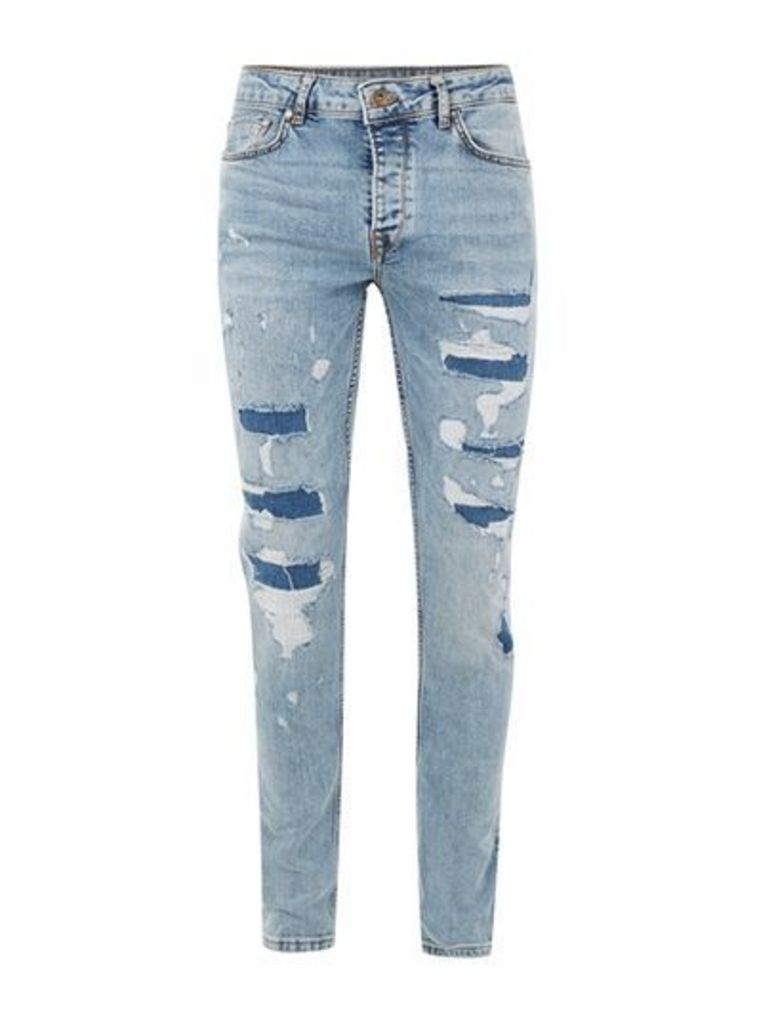 Mens Mid Wash Blue Repaired Stretch Skinny Fit Jeans, Blue
