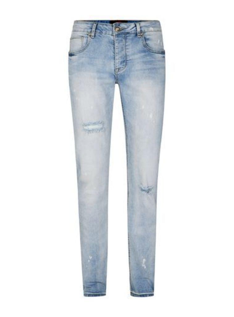 Mens SIXTH JUNE Light Blue Distressed Jeans, Blue