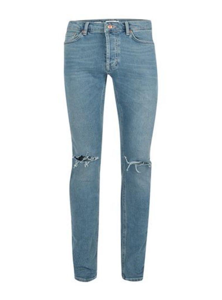 Mens Blue Vintage Wash Ripped Stretch Skinny Jeans, Blue