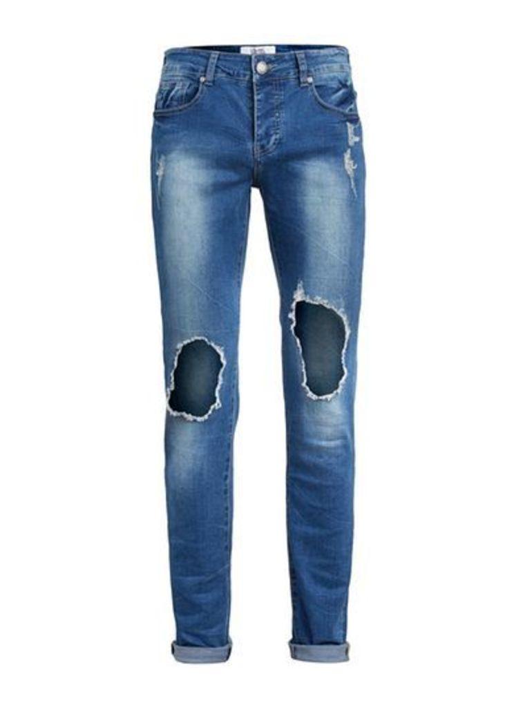 Mens SIXTH JUNE Blue Slim Fit Distressed Jeans, Blue