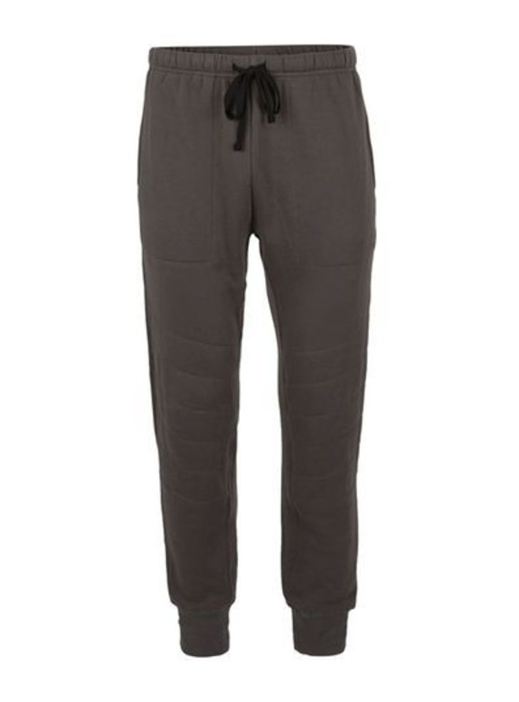 Mens Grey CONVERSE Brown Quilted Joggers, Grey