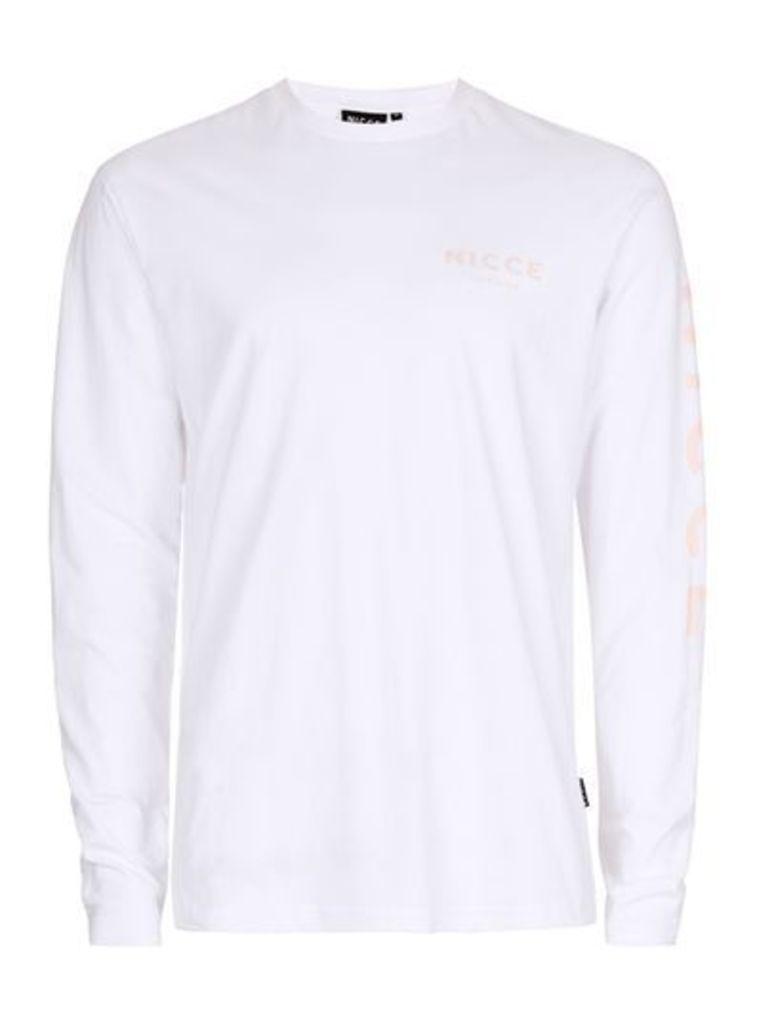 Mens NICCE White and Orange Long Sleeve T-Shirt, Orange