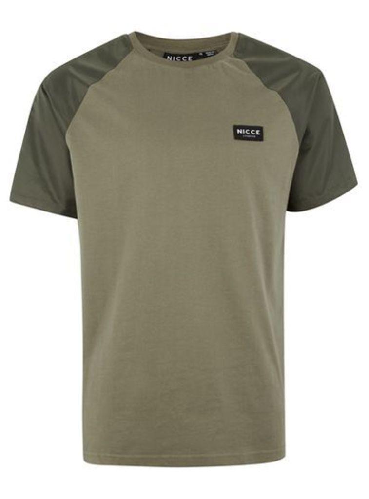 Mens Khaki NICCE Contrast Short Sleeve T-Shirt, Khaki