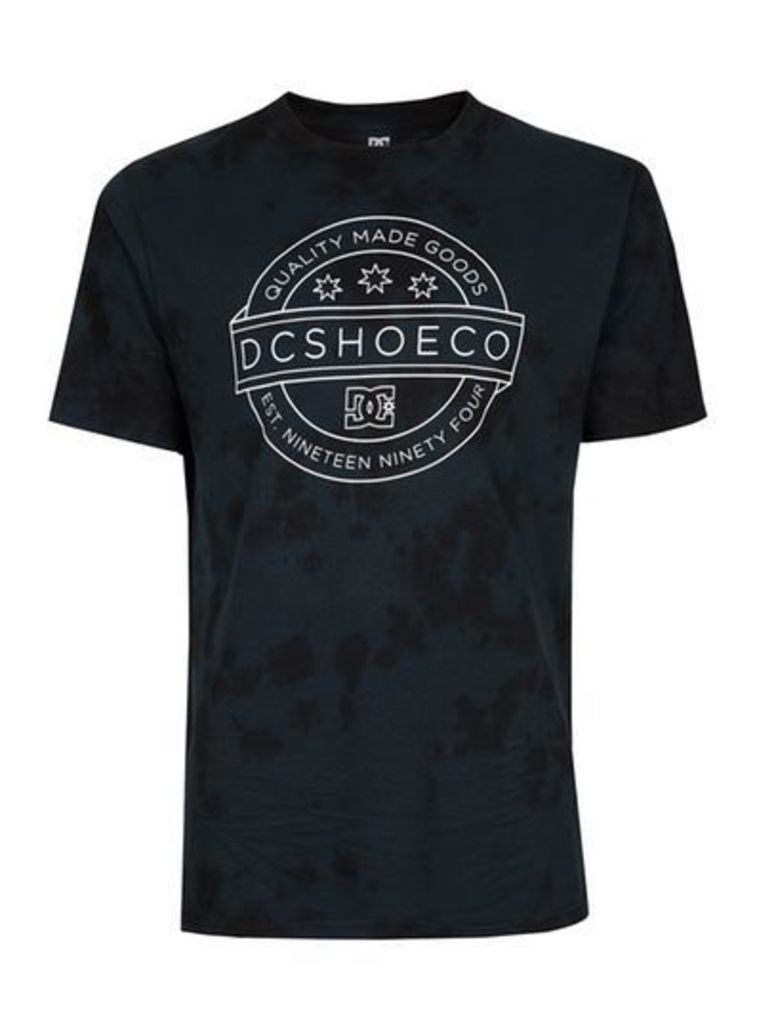 Mens DC Black Acid Wash T-Shirt, Black