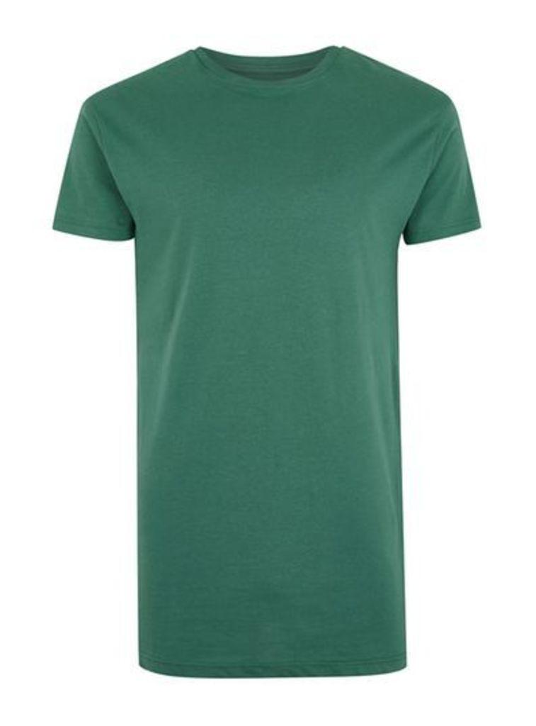 Mens Green Longline Muscle Fit T-Shirt, Green