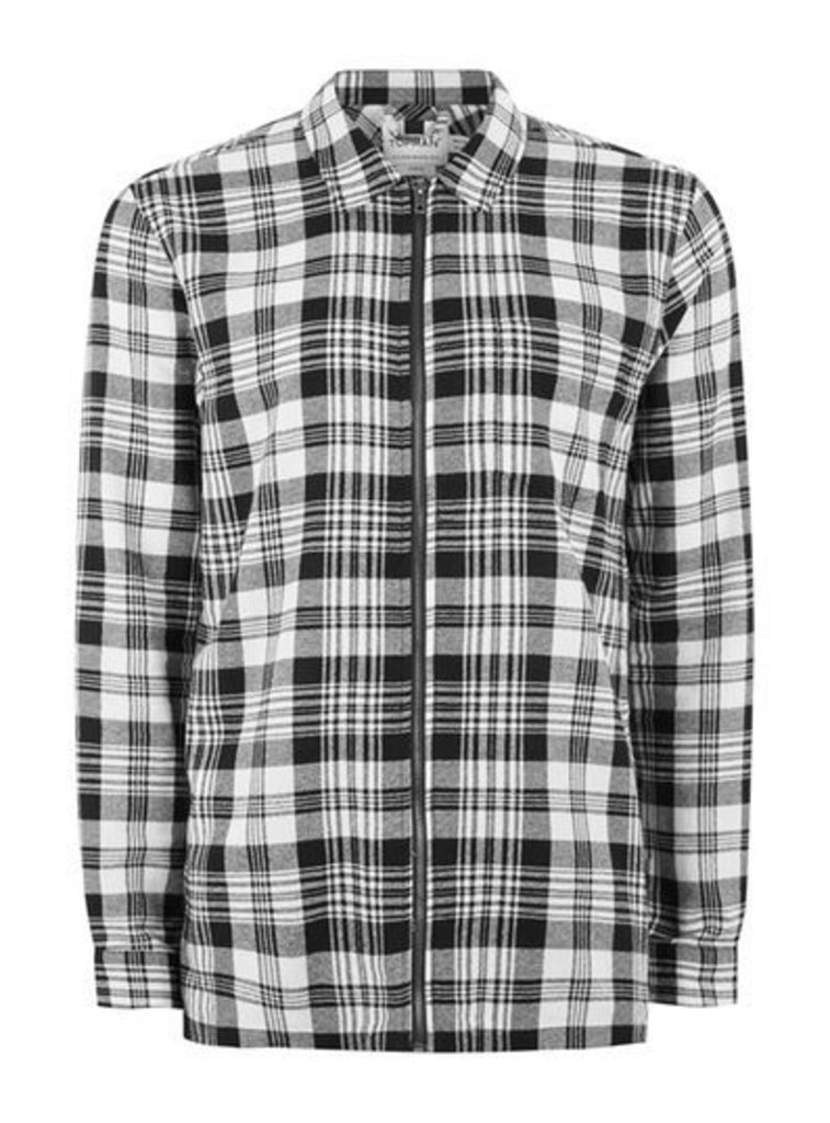 Mens Brown Black And White Checked Overshirt, Brown