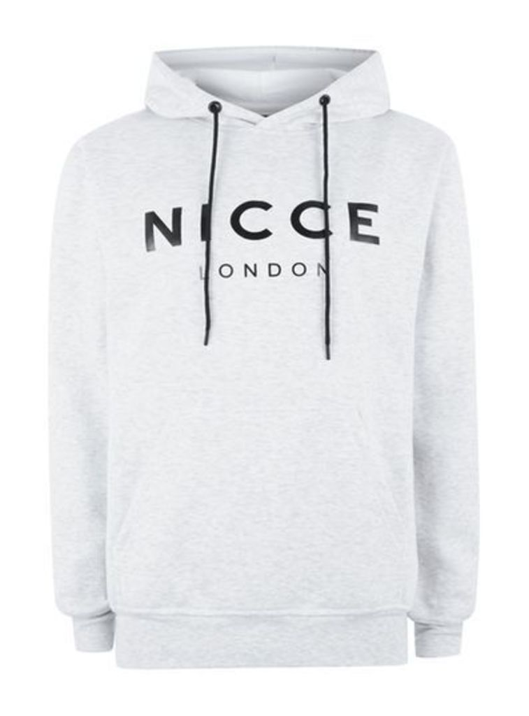 Mens NICCE Light Grey Hoodie, Grey