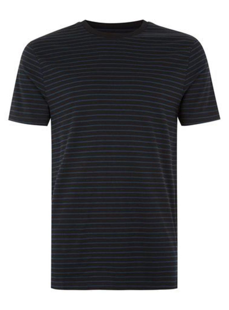Mens Black And Navy Slim Fit T-Shirt, Black