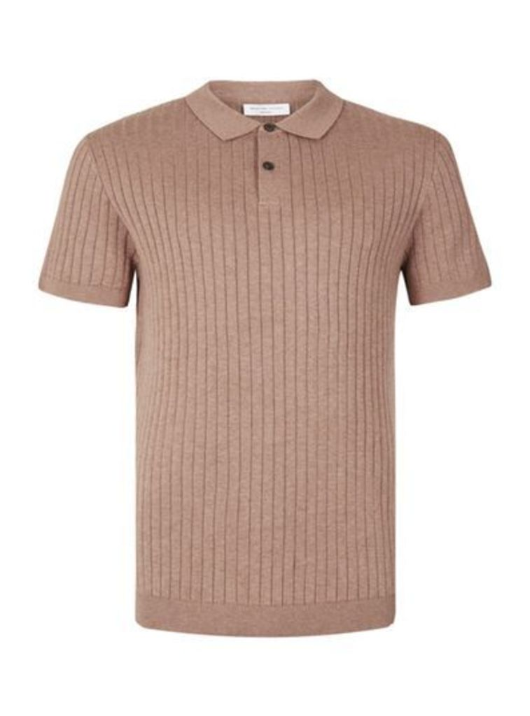 Mens SELECTED HOMME Pink Ribbed Knitted Polo T-Shirt, Pink
