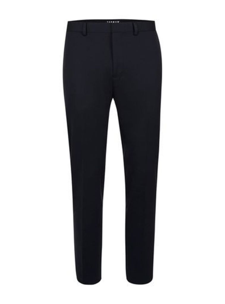 Mens Blue Navy Cropped Relaxed Fit Suit Trousers, Blue