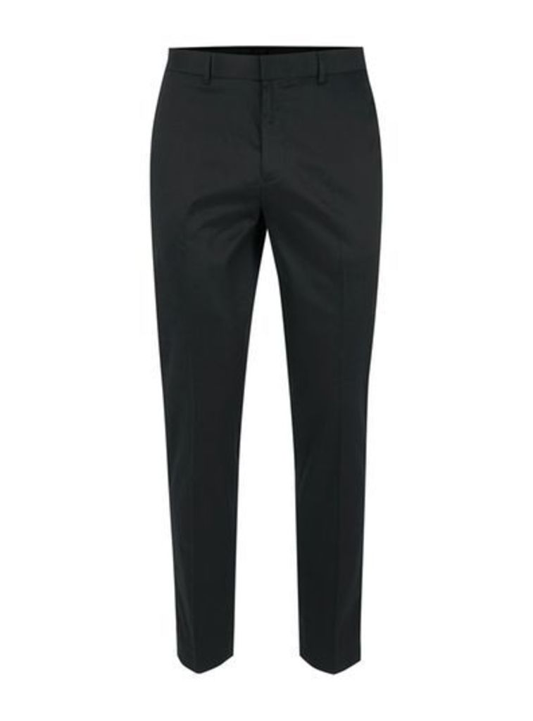 Mens Black Twill Side Pipe Cropped Trousers, Black