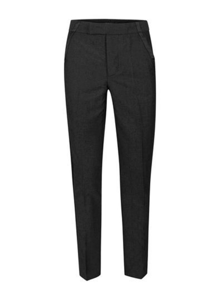 Mens Grey ROGUES OF LONDON Black Textured Suit Trousers, Grey