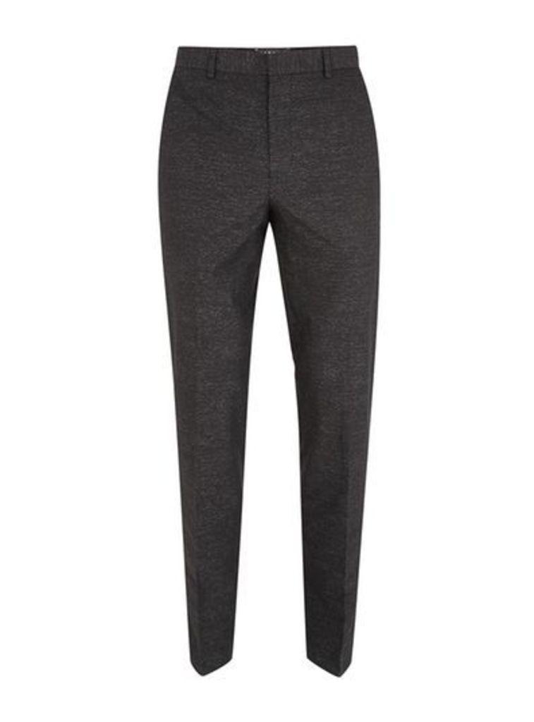 Mens Black Skinny Fit Stripe Cotton Suit Trousers, Black