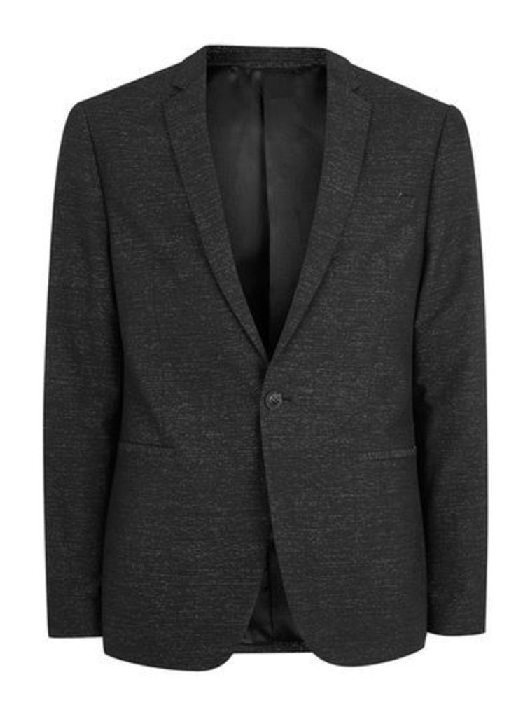 Mens Black Stripe Skinny Fit Cotton Suit Jacket, Black