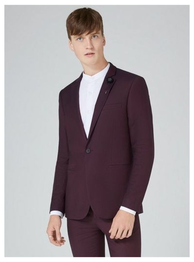 Mens Red Plum Skinny Fit Suit Jacket, Red