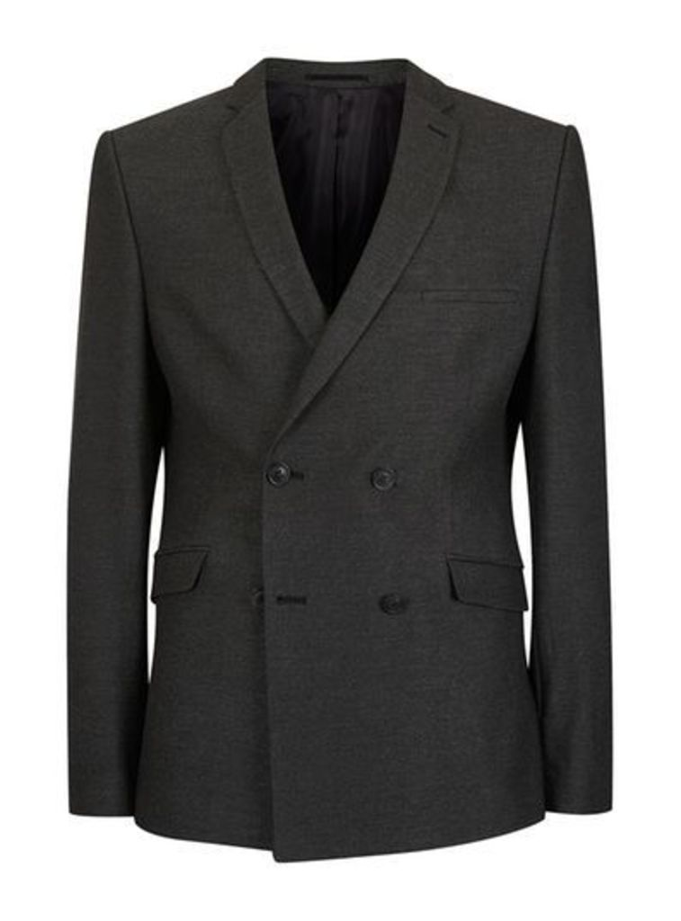 Mens SELECTED HOMME Grey Textured Double Breasted Suit Jacket, Grey