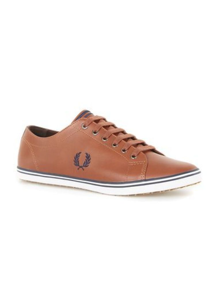 Mens Brown FRED PERRY Tan Leather Plimsolls, Brown