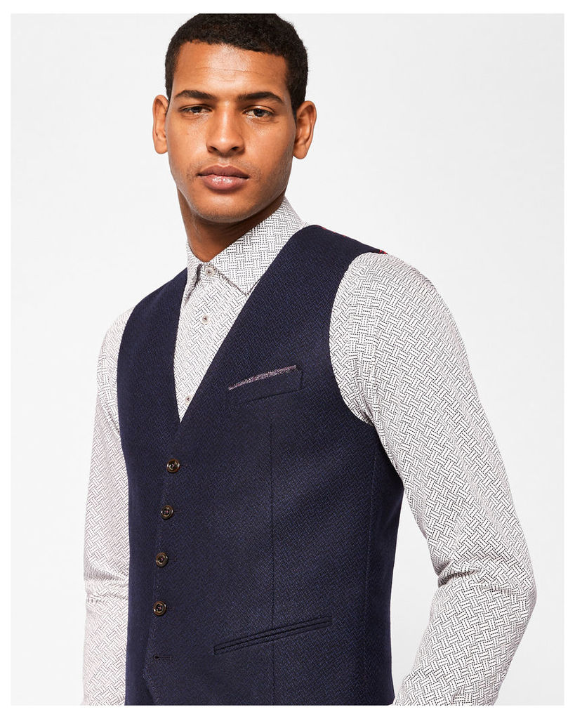 Ted Baker Semi plain wool-blend waistcoat Navy