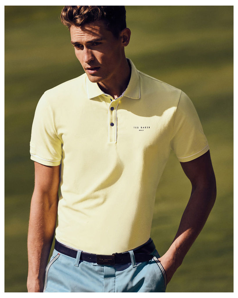 Ted Baker Stripe detail polo shirt Lemon