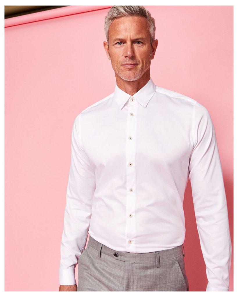 Ted Baker Satin stretch cotton-blend shirt White