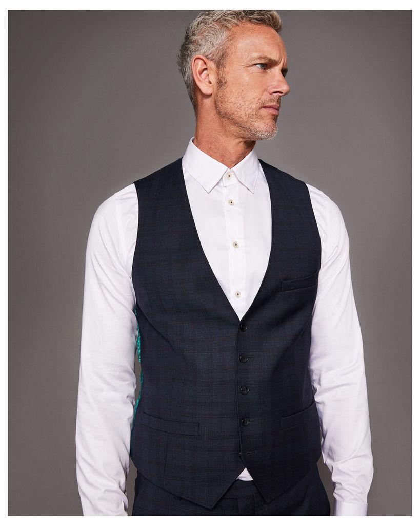 Ted Baker Debonair checked wool waistcoat Teal