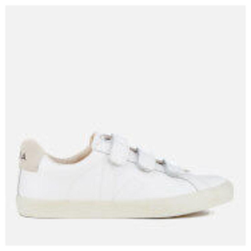 Veja Men's 3 Lock Leather Velcro Trainers - Extra White