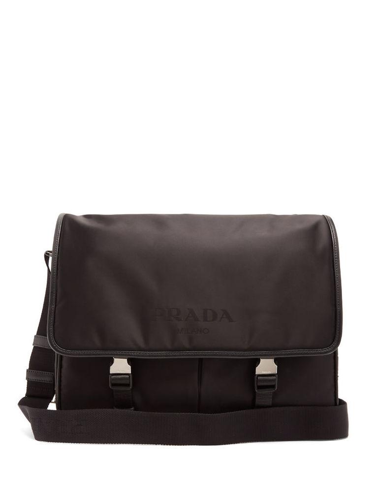 Leather-trimmed nylon messenger bag