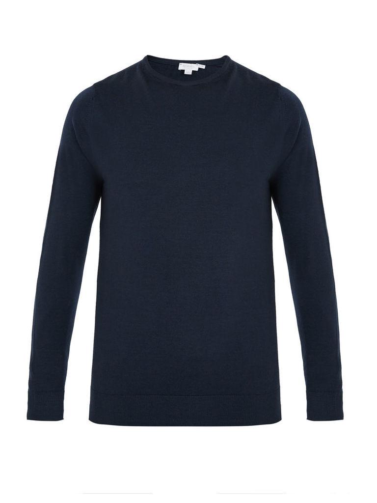 Crew-neck fine-knit wool sweater