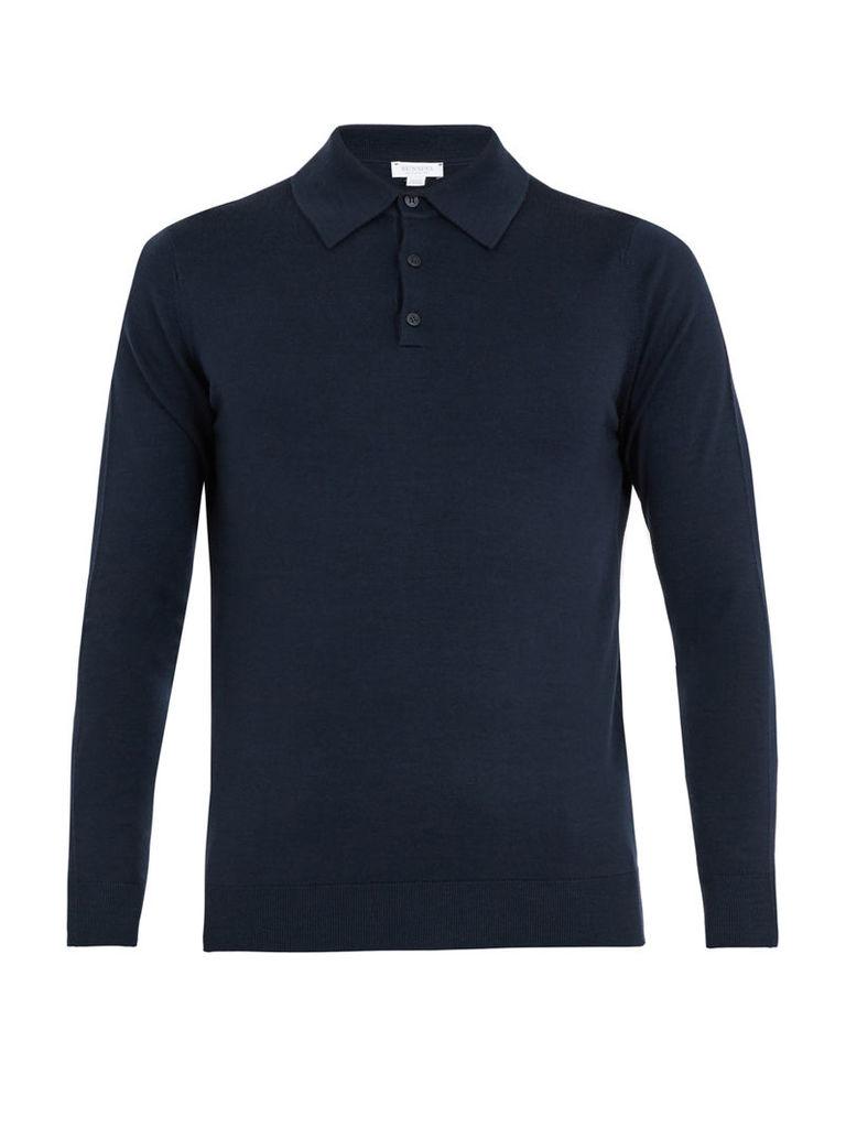 Fine-knit wool polo sweater