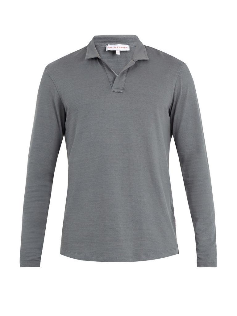 Massey long-sleeved cotton polo shirt