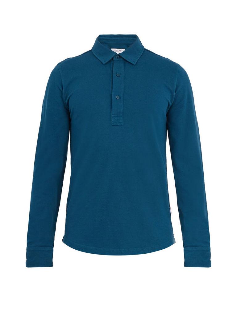 Sebastian long-sleeved cotton polo shirt