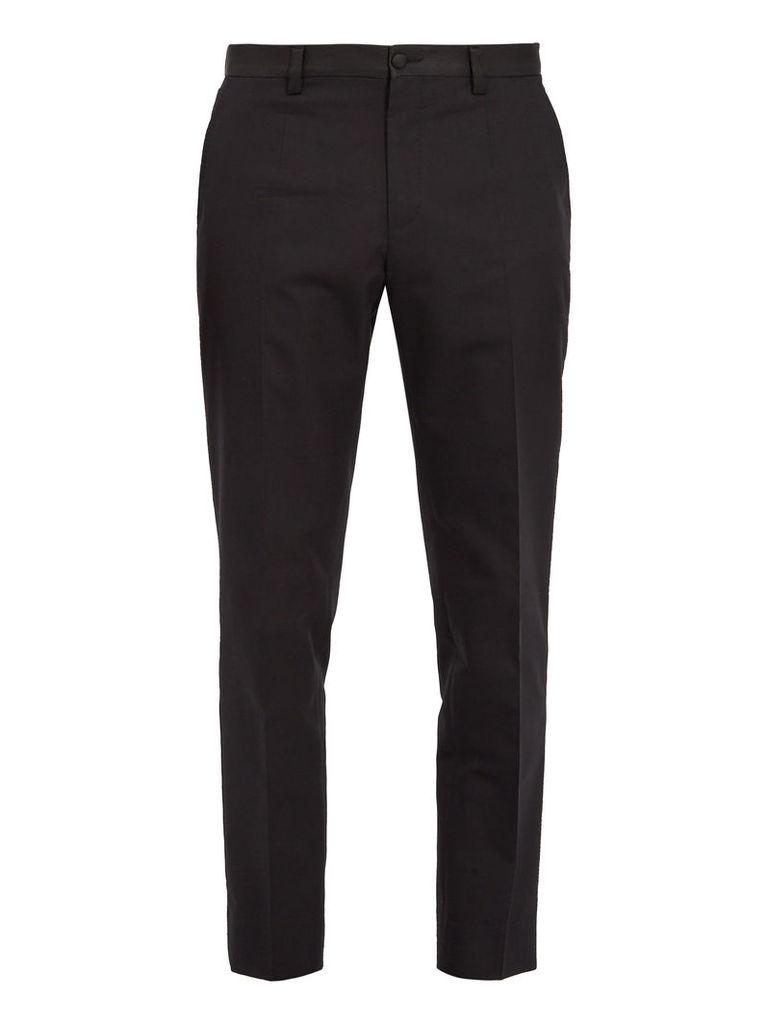 Slim-leg cotton and silk-blend tuxedo trousers