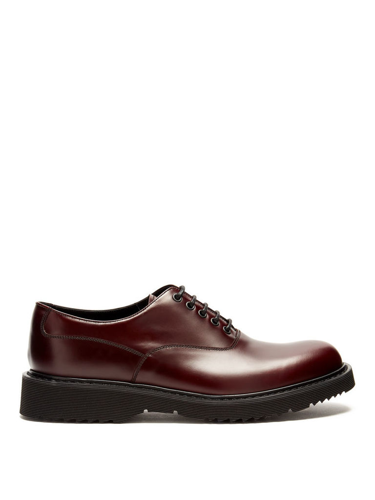 Raised-sole leather derby shoes
