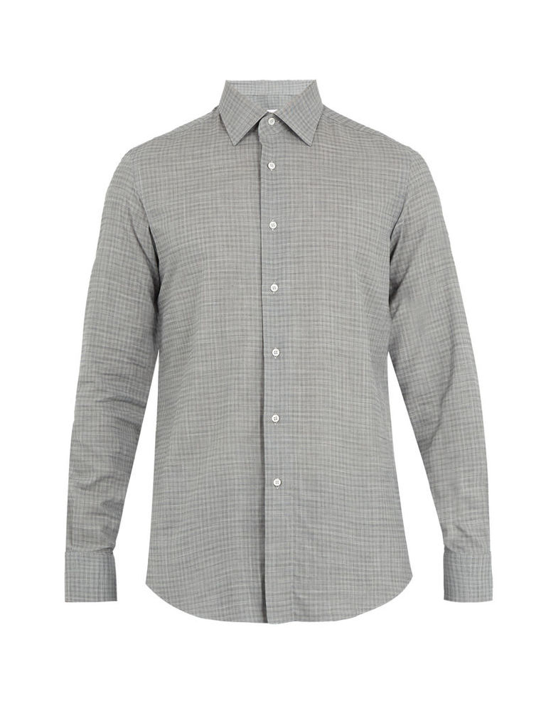 Single-cuff micro-checked cotton shirt
