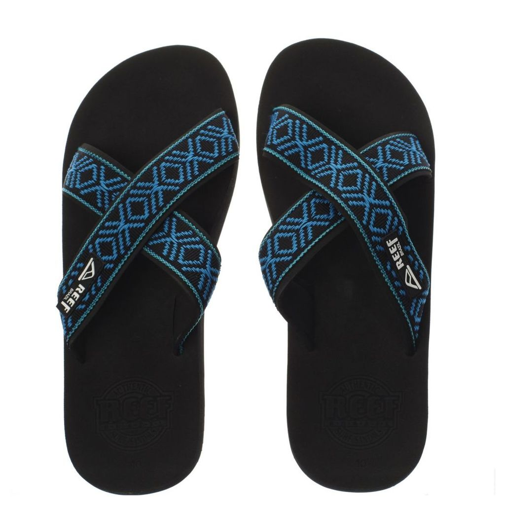 reef black and blue crossover sandals