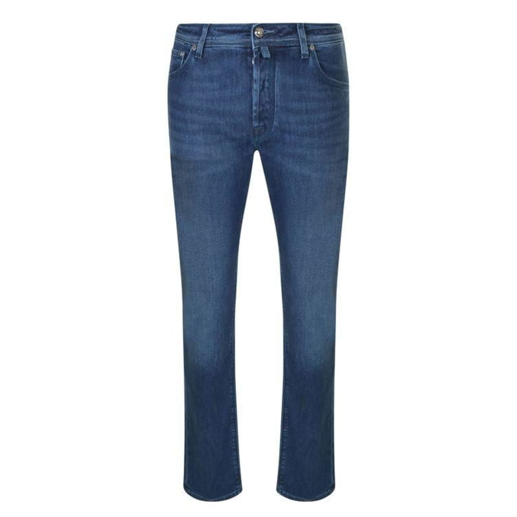 JACOB COHEN Textured Badge Slim Fit Jeans