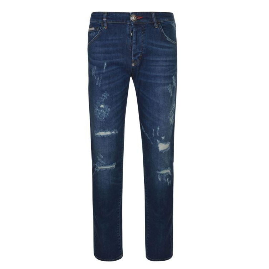 PHILIPP PLEIN Straight Cut Seem Jeans